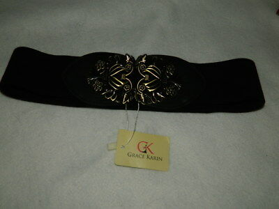 Grace Karin Black Stretch Belt Womens S Small up to 34 inches