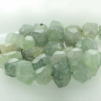 "15"" Natural Gemstone Faceted Nugget Prehnite Freeform Spacer Beads 14-20mm"