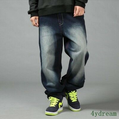 Fashion Mens Baggy trousers Denim Wide Legs Jeans Hip-Hop Boys Outwear Pants Hot