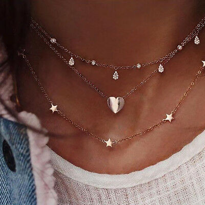 Love Heart Stars Pendant Multi-layered Chain Necklace Women Clavicle Chain N7