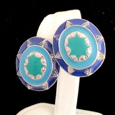Vintage Silver Tone Clip On Earrings Oval Multi-Color Blue & Green Enamel