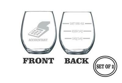 2 ACCOUNTANT PROFESSION Stemless Etched Wine Glasses Set of 2, CPA Wine Glass