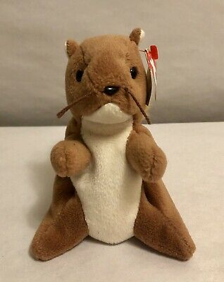 """TY Beanie Babies """"NUTS"""" Squirrel, 1996 Retired, COLLECTIBLE WITH ERROR & P.V.C."""