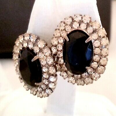 Vintage Silver Tone Pierced Earrings Oval Faux Black Stone Clear Rhinestones