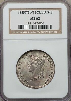 Bolivia 1855-PTS MJ 4 Soles NGC MS-62, Silver, Beautiful Patination !