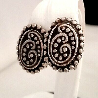 Vintage Chico's Antique Silver Tone Clip on Earrings Oval Textured Filigree