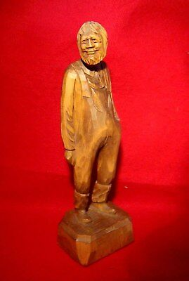 "OLD MAN WOOD CARVING SIGNED by ARTIST CARON 12"" ST-JEAN-PORT-JOLI QUEBEC, CANADA"