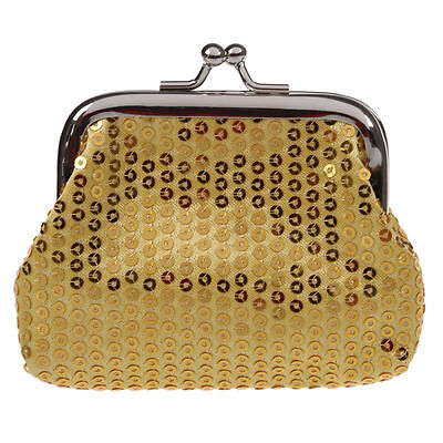 NEW Cute Gold Sequin Coin Purse Change Holder Sequins Case Mini Clutch Clasp