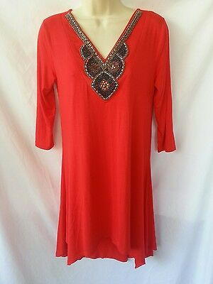 8eaa0a7a653 White Mark Womens Size Medium Dress Tunic Red Beaded Neckline New With Tags