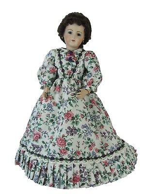 """White Floral Long Dress for 12"""" Fashion, Lady, China Head Doll, Clothes,"""