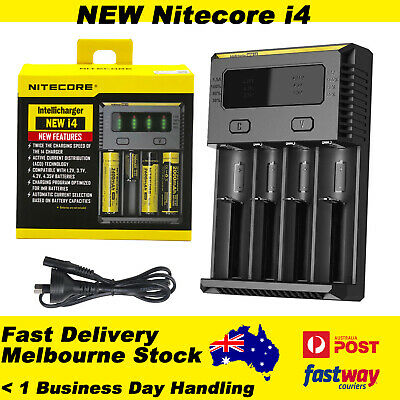 Nitecore NEW I4 Smart Battery Charger Lithium 18650 RCR123 AAA 17500 14500 16340