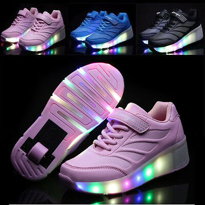 Kids Roller Skate Retractable Wheels LED Light Shoes Boys Girls Adults Sneakers