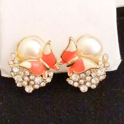 Vintage Goldtone Clip On Earrings Butterfly Rhinestone Cluster Faux Pearl Enamel