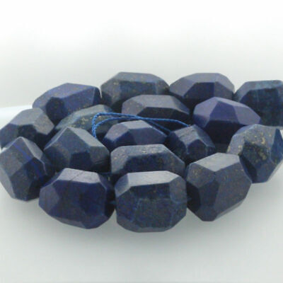 "15"" Natural Gemstone Faceted Nugget Lapis Lazuli Freeform Spacer Beads 15-22mm"