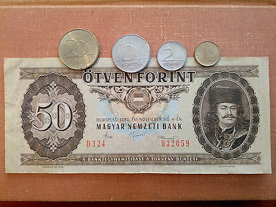 Hungary: 1,2,10,20 Forint Coins & 50 Forint Banknote