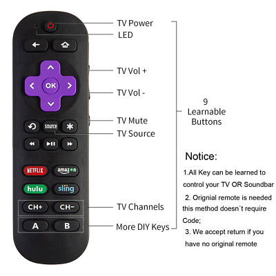 Universal Programmable Remote Control For Roku 1 2 3 4 Premier+ Express Ultra