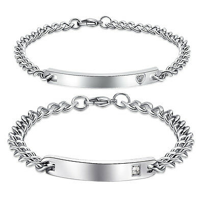 His and Hers Stainless Steel Couples Bracelets Custom Engrave Link Bracelet Gift