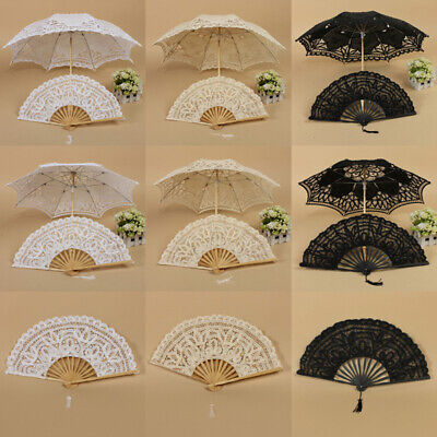 Vintage Lady Handmade Cotton Lace Parasol Umbrella Wedding Bridal Party Decor OZ
