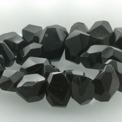 "15"" Natural Gemstone Faceted Nugget Obsidian Freeform Spacer Beads 14-20mm"