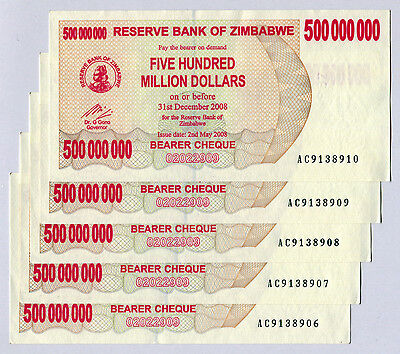 Zimbabwe 500 Million Dollars x 5 pcs 2008 P60 consecutive VF currency bills