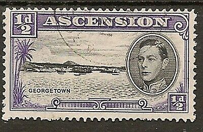 """ASCENSION KGVI VARIETY 1938-53 ½d P13 WITH LONG CENTRE BAR TO """"E"""" SG38ba"""