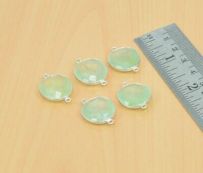 WHOLESALE 5PC 925 SILVER PLATED FACETED GREEN PREHNITE CONNECTOR LOT gY12805