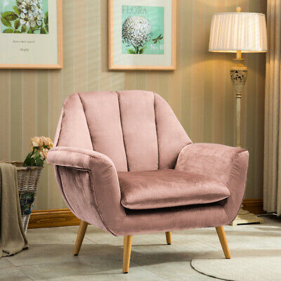 Blush Fabric Velvet Pink Accent Tub Armchair Sofa Lounge Chair Living Bedroom UK