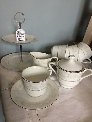 Pretty Tea Set for 4: Cups Saucers Plates, Small Cake Stand, Milk, Sugar Vintage
