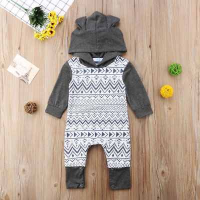 AU Newborn Baby Boy Girl Hooded Cotton Clothes Jumpsuit Bodysuit Rompers Outfits
