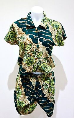 Vintage Retro Tropical Green Shirt and Short Set | 100% Cotton