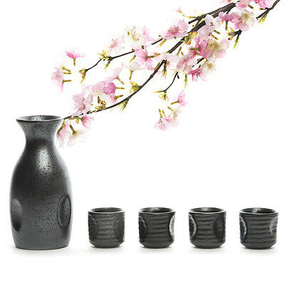 Traditional Japanese 1 Sake Bottle and 4 Sake Cups Set Mino Style Pottery Japan