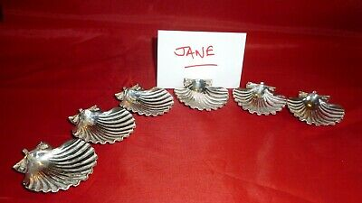 Set of Solid Continental Silver Scallop Shape Name Place Card Holders, 900 Grade