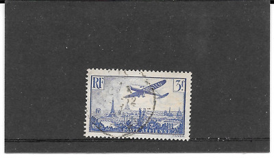 France 1936.avion Flying Over Paris.timbre Gum Seal Round. Pa.n°12