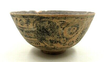 Authentic Ancient Indus Valley Terracotta Bowl W/ Bull  - L220