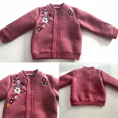 Baby Girls Bomber Jacket 3-6 Months Pink Floral Embroidered Long Sleeve Zip New