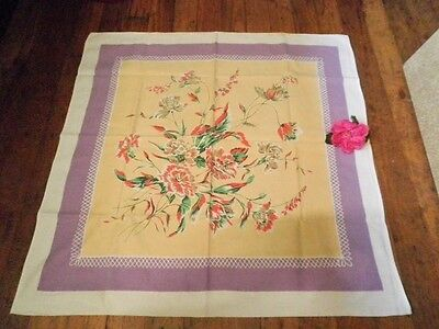 Vintage Tablecloth Carnations Square 82X82Cm Red Mauve Printed Supper Cloth