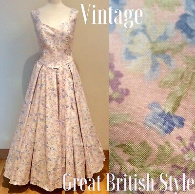 Laura Ashley Dress Vintage Pink Floral Size 10 - 12 Made In Britain