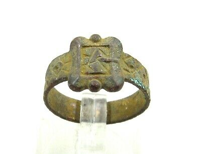 Authentic Medieval Tudor Bronze Ring W/ Belt Buckle Bezel - Wearable - J364