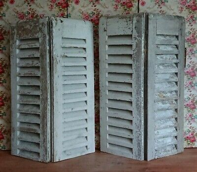 Vintage Wooden French Window Shutters antique original wood distressed 75cm H