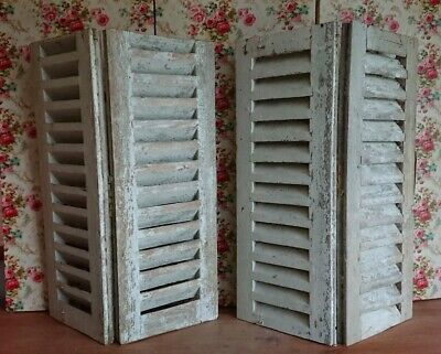 Vintage Wooden French Window Shutters antique original wood distressed 69.5cm H
