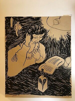 Henri Jossot (1866-1951) Reading, 1899 drawing antique ink chinese