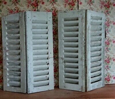 Vintage Wooden French Window Shutters antique original wood distressed 75H arch