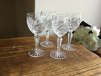 Vintage Set Of 4 Quality Crystal Cut Glass Wine Glasses Thistle Patterned Vgc