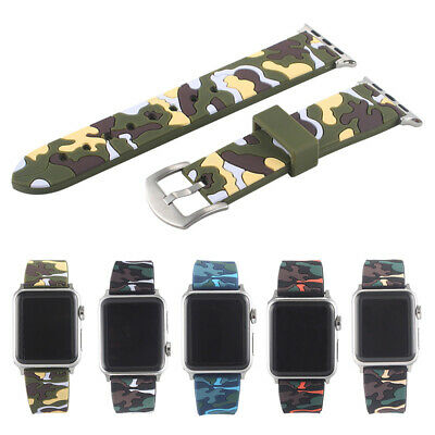 Camouflage Silicone Strap Sport Band For Apple Watch iWatch Series 4 3 2 40/44mm