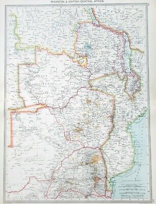 Map of Rhodesia & Central Africa. 1905. GOLD FIELDS. LAKE NYASSA. SALISBURY