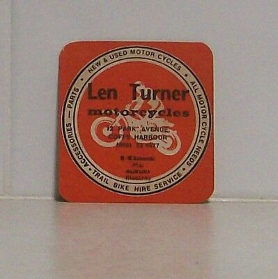 Collectable old 1970's Beer Coaster - Len Turner Motorcycles, Coffs Harbour NSW
