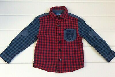 Baby Boy Disney Baby 18-24 Months Mickey Mouse motif checked shirt blue red