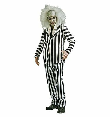 """Mens Fancy Dress Beetlejuice Costume Chest Size 42"""" Inches 1980 NEW IN PACK"""
