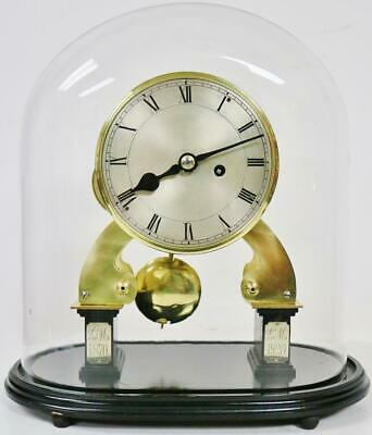 Antique English 8 Day Single Fusee Skeleton Mantel Table Clock Under Glass Dome