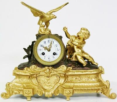Rare Antique French 8 Day Cherub Figure Mantel Clock French Figural Mantle Clock